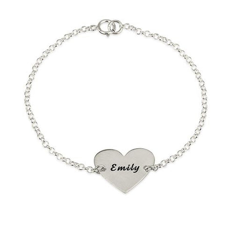 Sterling Silver Personalised Heart Bracelet