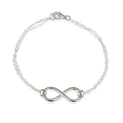 Sterling Silver Infinity Double Chain Bracelet