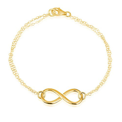 18K Gold Plated Infinity Double Chain Bracelet