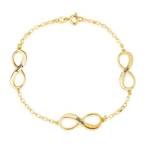 18K Plated Gold Personalised 3 Infinity Bracelet