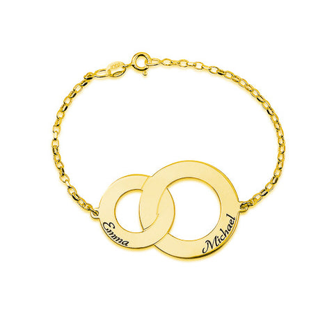 18K Plated Gold Personalised Twin Discs Bracelet