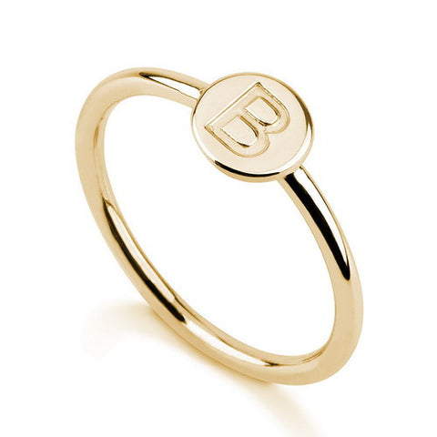 18K Gold Plated Personalised Initial Band Ring