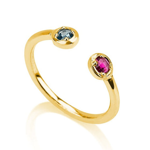 Gold over  Silver Birthstone Ring