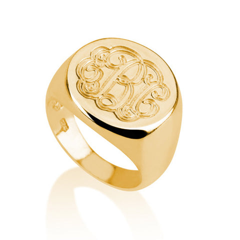 18K Gold Plated Personalised Monogram Ring