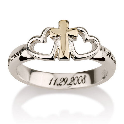 Sterling Silver 14K Solid Gold Personalised Cross and Heart Ring