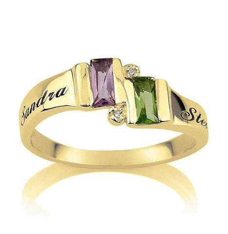 Personalised Gold over Silver Birthstone Ring