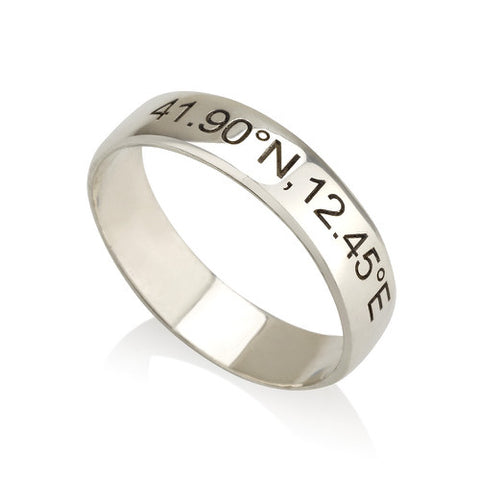 Sterling Silver Personalised Coordinates Ring