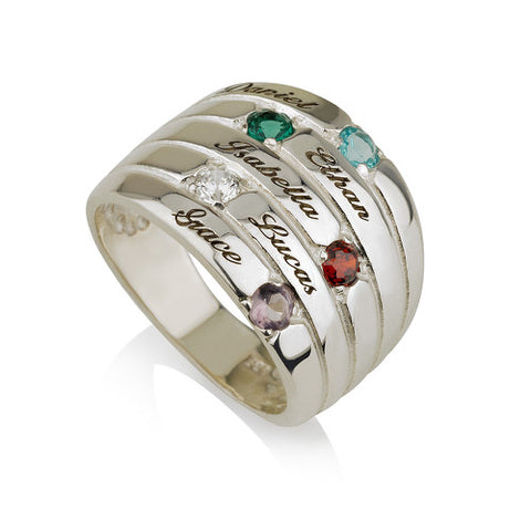 Sterling Silver Personalised Five Names and Birthstones Ring