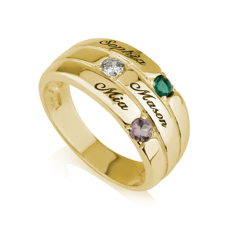 18K Gold Plated Personalised Three Names and Birthstones Ring