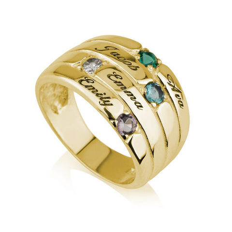 18K Gold Plated Personalised Four Names and Birthstones Ring