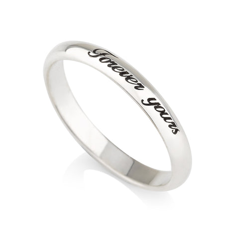Sterling Silver Personalised Thin Engraved Ring
