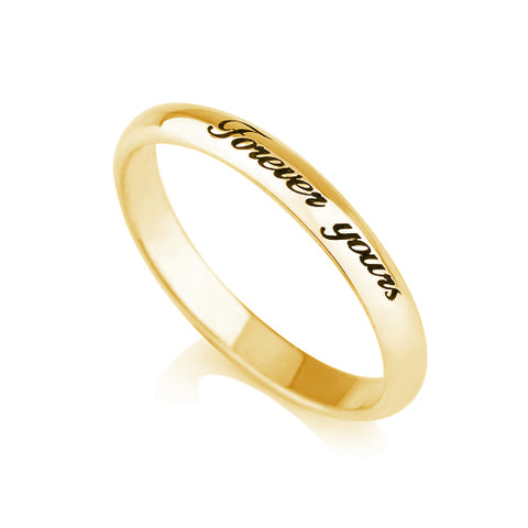 18K Gold Plated Personalised Thin Engraved Ring
