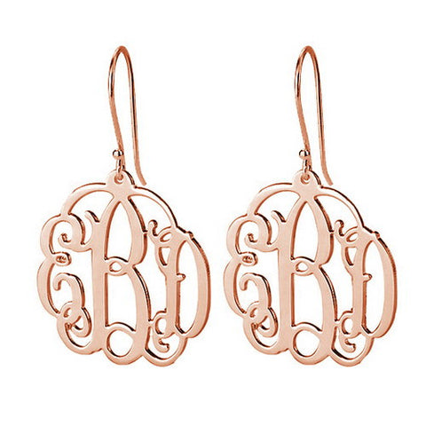 18K Rose Gold Plated Personalised Mini Monogram Earrings