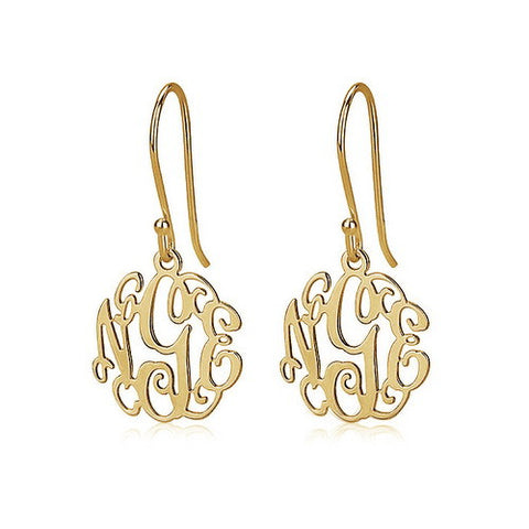 18K Gold Plated Personalised Mini Monogram Earrings