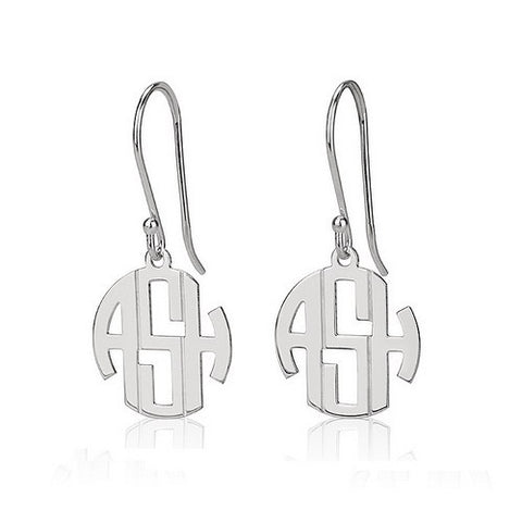 Sterling Silver Personalised Mini Block Monogram Earrings