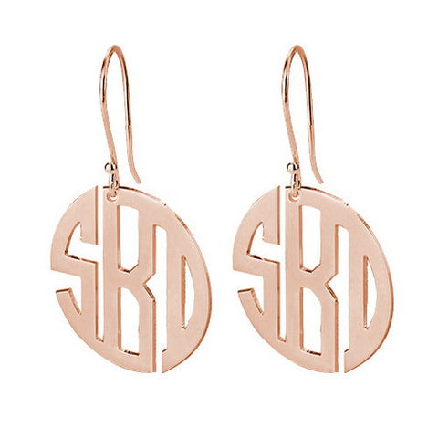18K Rose Gold Plated Personalised Mini Block Monogram Earrings