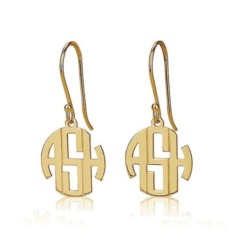 18K Gold Plated Personalised Mini Block Monogram Earrings