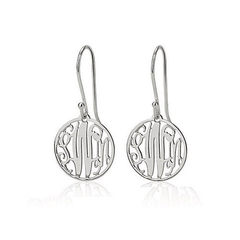 Sterling Silver Personalised Circle Monogram Earrings