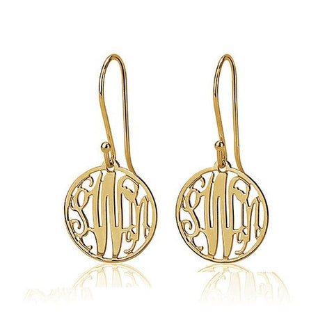 Gold Plated Personalised Circle Monogram Earrings