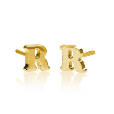 18K Gold Plated Personalised Initial Earrings