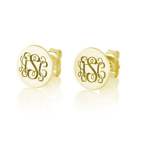 18K Gold Plated Personalised Monogram Earrings