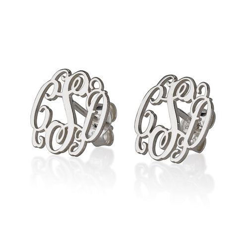 Sterling Silver Personalised Monogram Stud Earrings
