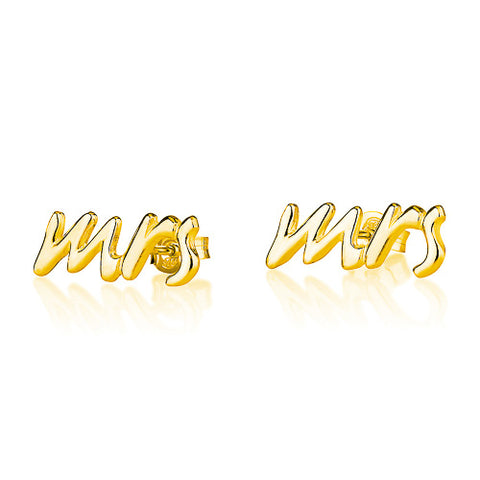 18K Plated Gold Mrs Earrings