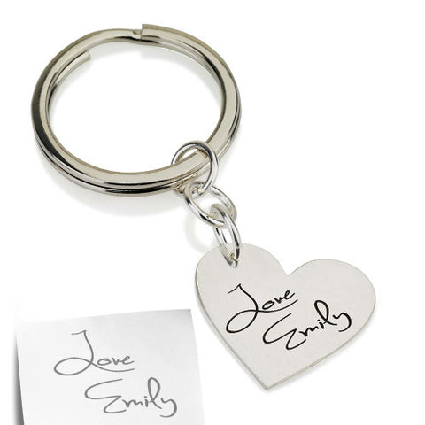 Sterling Silver Personalised Signature/ Handwriting Heart Keyring