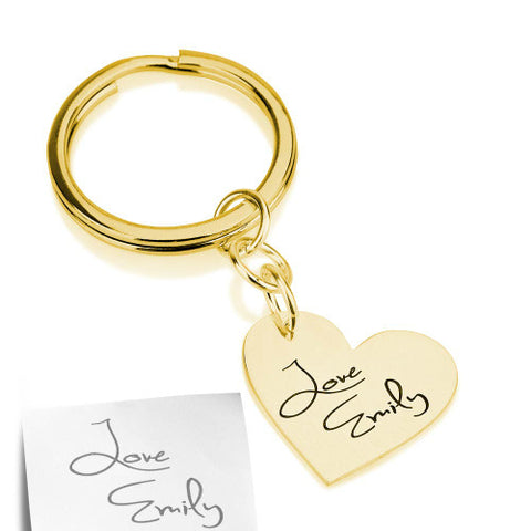 18K Gold Plated Personalised Signature/ Handwriting Heart Keyring