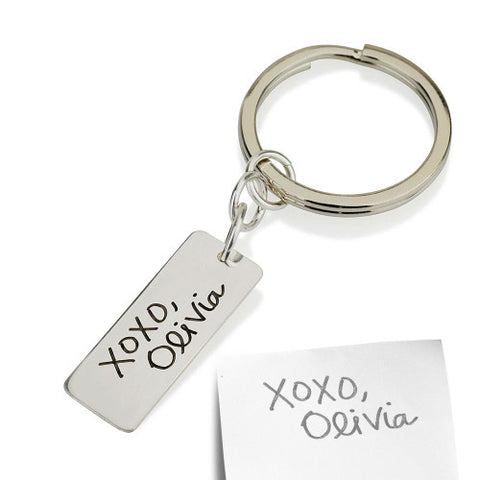 Sterling Silver Personalised Signature/ Handwriting Rectangular Keyring