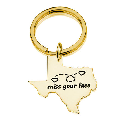 18K Gold Plated State Key Chain