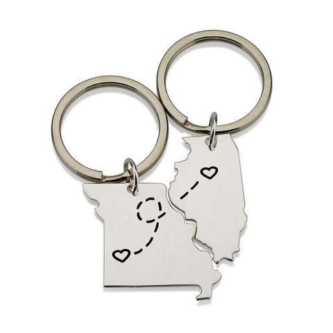Sterling Silver Double State Key Chains