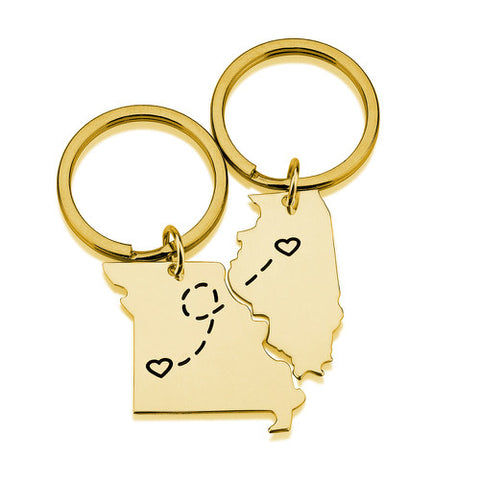 18K Gold Plated Double State Key Chains