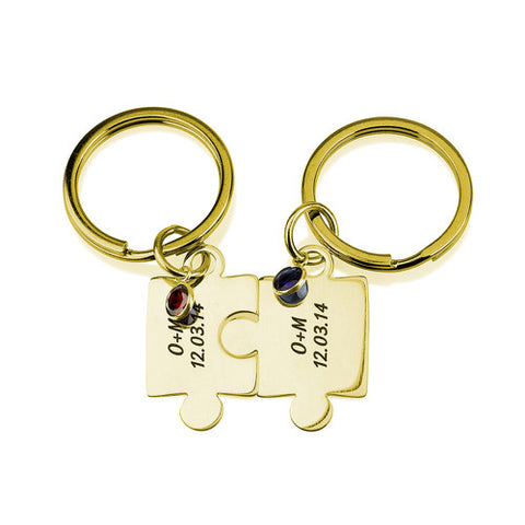18K Gold Plated Personalised Best Friend/ Lover Puzzle Keyrings