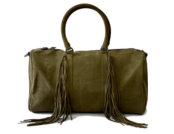 suede travel bag_olive green suede