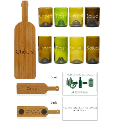 "12oz + 16oz 4 packs with Cheers in 8 languages +an 18"" wine bottle shaped serving board"