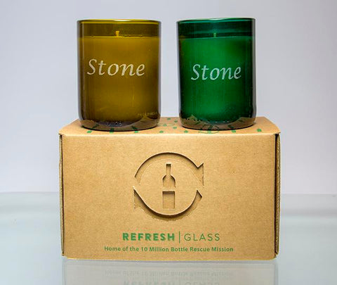 2 pack of soy candles: Common text engraving on both glasses