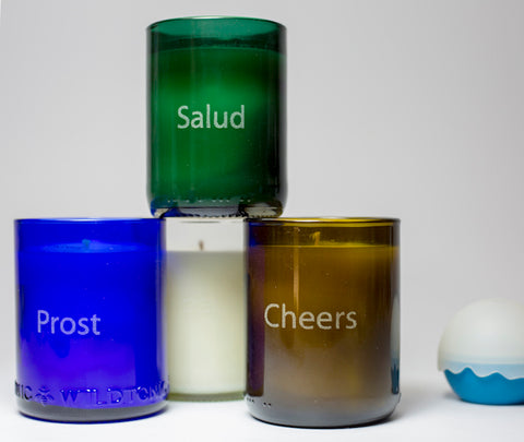 4 pack of soy candles: Cheers in 4 languages