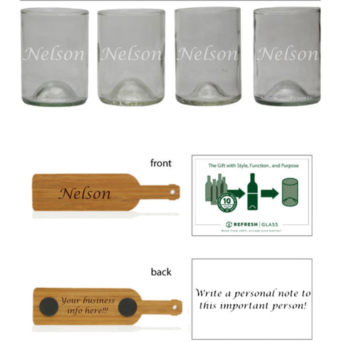 Bourbon 4 pack: Engrave all 4 glasses the same