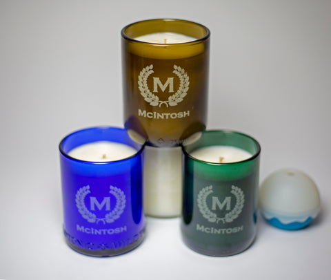 4 pack of soy candles: Crest with initial and name
