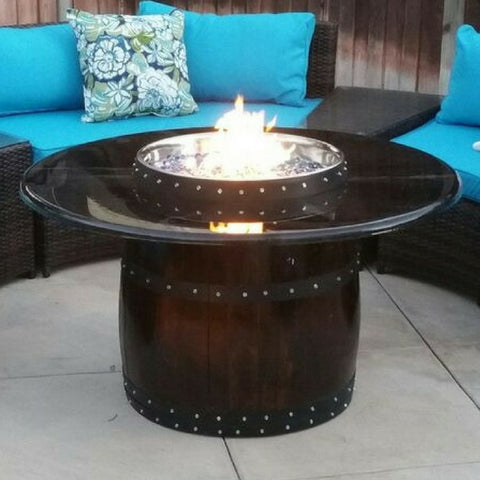 fire pit made from wine barrel