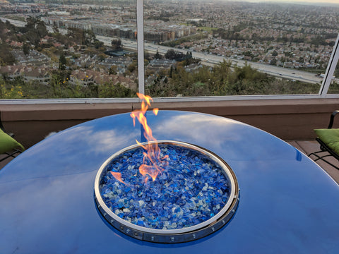 Crystal Lake Wine Barrel Fire Pit Table
