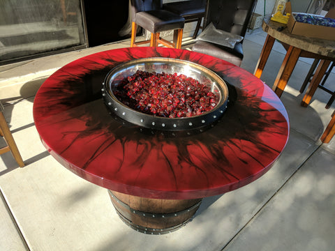 Fire Eye Wine Barrel Fire Pit Table