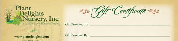 Plant Delight Gift Certificates
