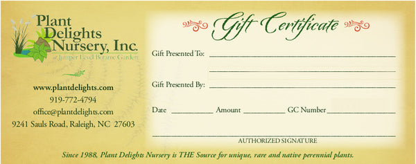 Plant Delights Electronic Gift Certificate