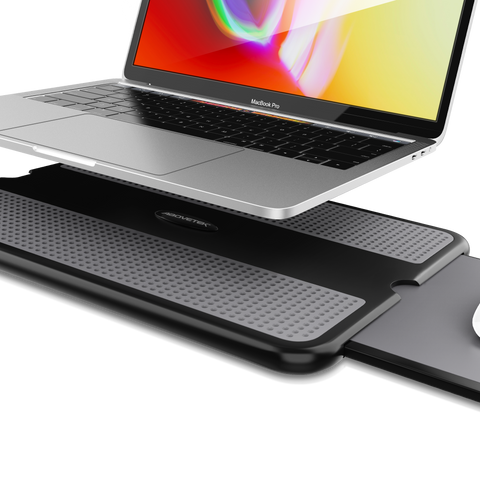 Our portable laptop desk is sleek, beautiful, and features a retractable mouse pad.