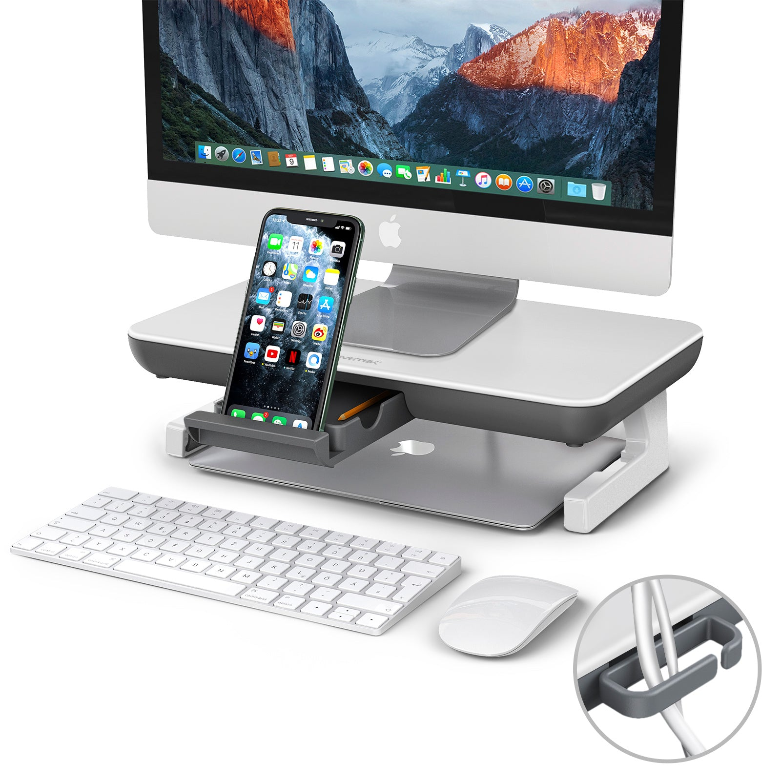 AboveTEK Adjustable Computer Stand with Storage Drawer (MS-230W)
