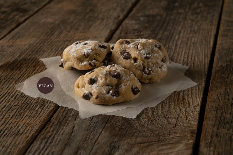 Take a bite out of our Vegan, Dark Chocolate Chip cookie! It's dairy-free, soy-free, and egg-free!