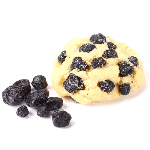 Our lemon cookie, mixed with luscious, Michigan dried blueberries, rolled in sugar before baking.