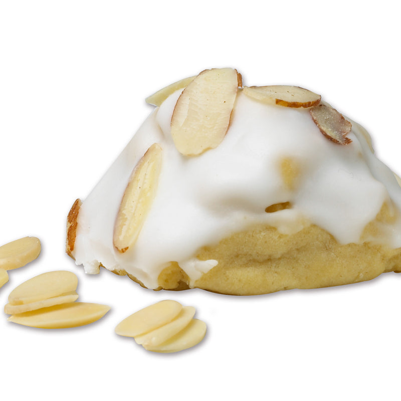 Almond flavors, dipped in icing, topped with almond slices.